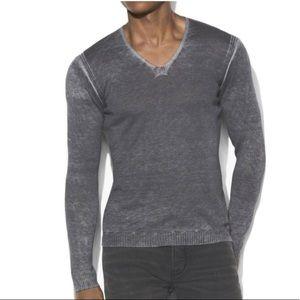 John Varvatos Reverse Print V-Neck Sweater